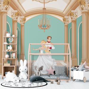 Papel De Parede - príncipe e princesa dançando Vinil 0,010mm - Autocolante Sob medida - Painel Impressão Digital - Fosco - Divididos em Rolos de 50cm - Todas as Imagens são MERAMENTE ILUSTRATIVAS.