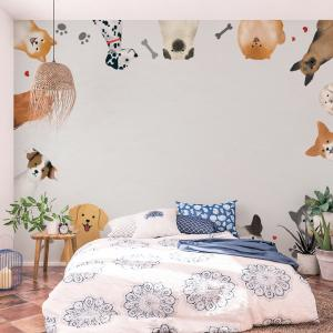Papel De Parede - Quadro com vetor de cães Vinil 0,010mm - Autocolante Sob medida - Painel Impressão Digital - Fosco - Divididos em Rolos de 50cm - Todas as Imagens são MERAMENTE ILUSTRATIVAS.