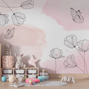 Papel De Parede - Rosa Pastel Com Flores Vinil 0,010mm - Autocolante Sob medida - Painel Impressão Digital - Fosco - Divididos em Rolos de 50cm - Todas as Imagens são MERAMENTE ILUSTRATIVAS.