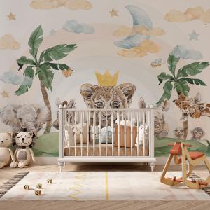 Papel De Parede - Savannah Baby Animals  menino Vinil 0,010mm - Autocolante Sob medida - Painel Impressão Digital - Fosco - Divididos em Rolos de 50cm - Todas as Imagens são MERAMENTE ILUSTRATIVAS.