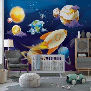 Papel De Parede - Sistema solar de planetas Vinil 0,010mm - Autocolante Sob medida - Painel Impressão Digital - Fosco - Divididos em Rolos de 50cm - Todas as Imagens são MERAMENTE ILUSTRATIVAS.