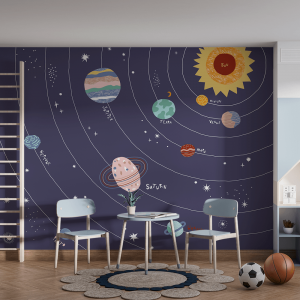 Papel De Parede - sistema solar isolada no fundo azul Vinil 0,010mm - Autocolante Sob medida - Painel Impressão Digital - Fosco - Divididos em Rolos de 50cm - Todas as Imagens são MERAMENTE ILUSTRATIVAS.