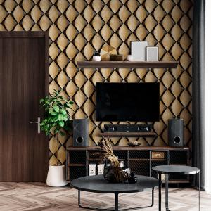 Papel De Parede - Telhas de madeira 3D com elementos pretos Vinil 0,010mm - Autocolante Sob medida - Padrão Impressão Digital Fosco - Liso Divididos em Rolos de 50cm Todas as Imagens são MERAMENTE ILUSTRATIVAS.