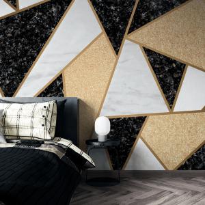 Papel De Parede - telhas de mosaico de mármore Vinil 0,010mm - Autocolante Sob medida - Painel Impressão Digital - Fosco - Divididos em Rolos de 50cm - Todas as Imagens são MERAMENTE ILUSTRATIVAS.