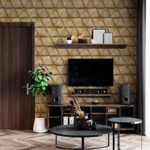 Papel De Parede - Triângulos 3D de madeira com chanfros Vinil 0,010mm - Autocolante Sob medida - Padrão Impressão Digital Fosco - Liso Divididos em Rolos de 50cm Todas as Imagens são MERAMENTE ILUSTRATIVAS.