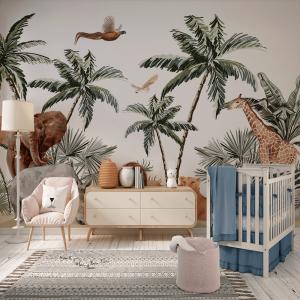 Papel De Parede - tropical vintage havaiano palmeiras Vinil 0,010mm - Autocolante Sob medida - Painel Impressão Digital - Fosco - Divididos em Rolos de 50cm - Todas as Imagens são MERAMENTE ILUSTRATIVAS.