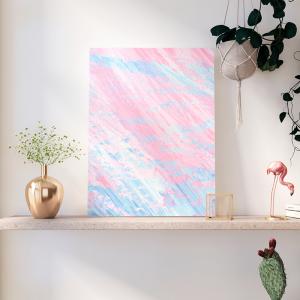 Quadro Abstrato Rosa e Azul Moldura Madeira de Reflorestamento - Fundo em Madeira 100% MDF 3mm  Impressão Digital Quadro de Moldura Com Vidro Com Ou Sem Moldura Vinil Texturizado
