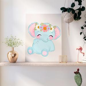 Quadro Adorable Animals elefante mod.1 Moldura Madeira de Reflorestamento - Fundo em Madeira 100% MDF 3mm  Impressão Digital Quadro de Moldura Com Vidro Com Ou Sem Moldura Vinil Texturizado