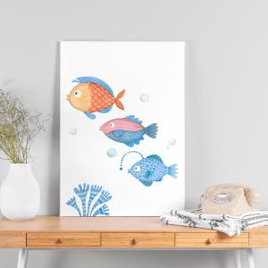 Quadro Amigos de animais marinhos peixes mod.2 Moldura Madeira de Reflorestamento - Fundo em Madeira 100% MDF 3mm  Impressão Digital Quadro de Moldura Com Vidro Com Ou Sem Moldura Vinil Texturizado