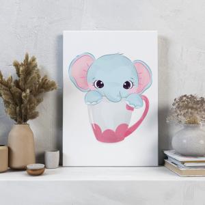 Quadro animais adestráveis rosa elefante mod.1 Moldura Madeira de Reflorestamento - Fundo em Madeira 100% MDF 3mm  Impressão Digital Quadro de Moldura Com Vidro Com Ou Sem Moldura Vinil Texturizado