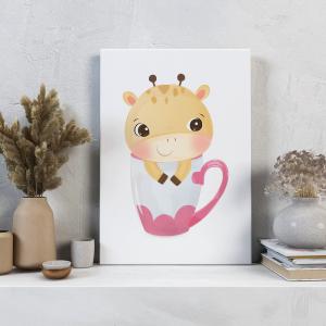 Quadro animais adestráveis rosa girafa mod.1 Moldura Madeira de Reflorestamento - Fundo em Madeira 100% MDF 3mm  Impressão Digital Quadro de Moldura Com Vidro Com Ou Sem Moldura Vinil Texturizado