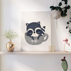 Quadro animais adoráveis guaxinim para crianças mod.1 Moldura Madeira de Reflorestamento - Fundo em Madeira 100% MDF 3mm  Impressão Digital Quadro de Moldura Com Vidro Com Ou Sem Moldura Vinil Texturizado