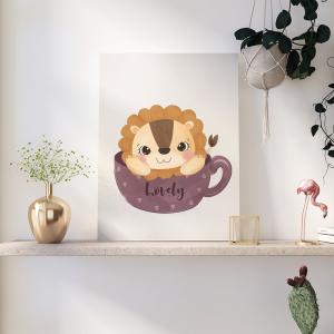 Quadro animais adoráveis leão para crianças mod.1 Moldura Madeira de Reflorestamento - Fundo em Madeira 100% MDF 3mm  Impressão Digital Quadro de Moldura Com Vidro Com Ou Sem Moldura Vinil Texturizado