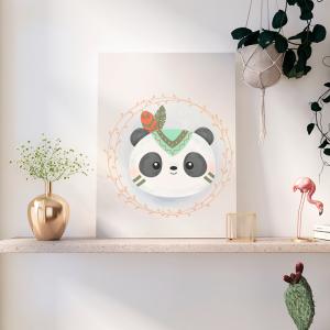 Quadro Animais Boêmios Panda Fofo mod. 2 Moldura Madeira de Reflorestamento - Fundo em Madeira 100% MDF 3mm  Impressão Digital Quadro de Moldura Com Vidro Com Ou Sem Moldura Vinil Texturizado