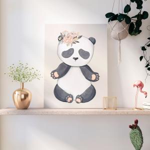Quadro Animais Coleção Panda Meninas Moldura Madeira de Reflorestamento - Fundo em Madeira 100% MDF 3mm  Impressão Digital Quadro de Moldura Com Vidro Com Ou Sem Moldura Vinil Texturizado