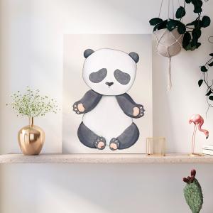 Quadro Animais Coleção Panda Moldura Madeira de Reflorestamento - Fundo em Madeira 100% MDF 3mm  Impressão Digital Quadro de Moldura Com Vidro Com Ou Sem Moldura Vinil Texturizado
