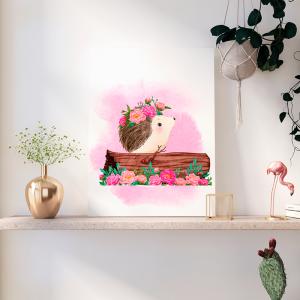 Quadro animais da floresta da primavera porco espinho Moldura Madeira de Reflorestamento - Fundo em Madeira 100% MDF 3mm  Impressão Digital Quadro de Moldura Com Vidro Com Ou Sem Moldura Vinil Texturizado