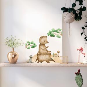 Quadro Animais da Floresta Ursinho e o guaxinim mod.1 Moldura Madeira de Reflorestamento - Fundo em Madeira 100% MDF 3mm  Impressão Digital Quadro de Moldura Com Vidro Com Ou Sem Moldura Vinil Texturizado