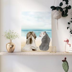 Quadro animais de estimação best friends Moldura Madeira de Reflorestamento - Fundo em Madeira 100% MDF 3mm  Impressão Digital Quadro de Moldura Com Vidro Com Ou Sem Moldura Vinil Texturizado