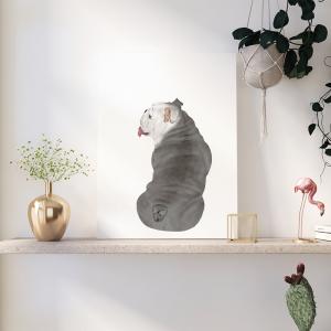 Quadro animais de estimação bulldog Moldura Madeira de Reflorestamento - Fundo em Madeira 100% MDF 3mm  Impressão Digital Quadro de Moldura Com Vidro Com Ou Sem Moldura Vinil Texturizado