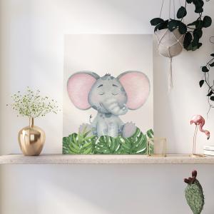 Quadro Animais do Safari Elefante mod.1 Moldura Madeira de Reflorestamento - Fundo em Madeira 100% MDF 3mm  Impressão Digital Quadro de Moldura Com Vidro Com Ou Sem Moldura Vinil Texturizado