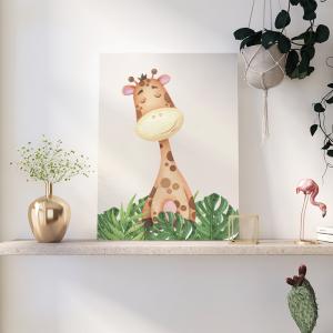 Quadro Animais do Safari Girafa mod.1 Moldura Madeira de Reflorestamento - Fundo em Madeira 100% MDF 3mm  Impressão Digital Quadro de Moldura Com Vidro Com Ou Sem Moldura Vinil Texturizado