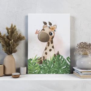 Quadro Animais do Safari Girafa meninas mod.1 Moldura Madeira de Reflorestamento - Fundo em Madeira 100% MDF 3mm  Impressão Digital Quadro de Moldura Com Vidro Com Ou Sem Moldura Vinil Texturizado
