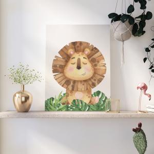 Quadro Animais do Safari Leão mod.1 Moldura Madeira de Reflorestamento - Fundo em Madeira 100% MDF 3mm  Impressão Digital Quadro de Moldura Com Vidro Com Ou Sem Moldura Vinil Texturizado