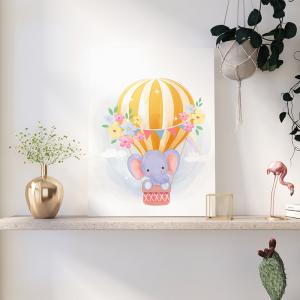 Quadro animais e balões de ar elefante Moldura Madeira de Reflorestamento - Fundo em Madeira 100% MDF 3mm  Impressão Digital Quadro de Moldura Com Vidro Com Ou Sem Moldura Vinil Texturizado
