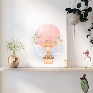 Quadro animais e balões de ar girafa Moldura Madeira de Reflorestamento - Fundo em Madeira 100% MDF 3mm  Impressão Digital Quadro de Moldura Com Vidro Com Ou Sem Moldura Vinil Texturizado