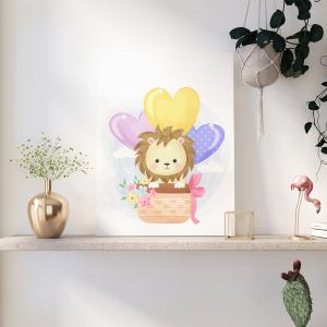 Quadro animais e balões de ar leão Moldura Madeira de Reflorestamento - Fundo em Madeira 100% MDF 3mm  Impressão Digital Quadro de Moldura Com Vidro Com Ou Sem Moldura Vinil Texturizado