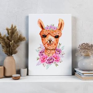 Quadro Animais e flores em aquarela camelo Moldura Madeira de Reflorestamento - Fundo em Madeira 100% MDF 3mm  Impressão Digital Quadro de Moldura Com Vidro Com Ou Sem Moldura Vinil Texturizado