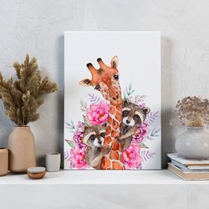 Quadro Animais e flores em aquarela girafa e os guaxinins Moldura Madeira de Reflorestamento - Fundo em Madeira 100% MDF 3mm  Impressão Digital Quadro de Moldura Com Vidro Com Ou Sem Moldura Vinil Texturizado