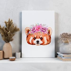 Quadro Animais e flores em aquarela panda-vermelho Moldura Madeira de Reflorestamento - Fundo em Madeira 100% MDF 3mm  Impressão Digital Quadro de Moldura Com Vidro Com Ou Sem Moldura Vinil Texturizado