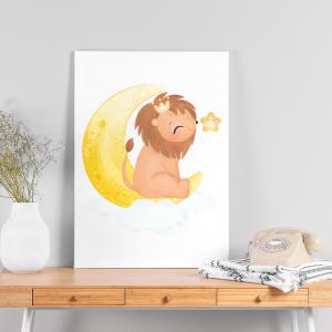 Quadro Animais fofos em aquarela na lua leão mod. 1 Moldura Madeira de Reflorestamento - Fundo em Madeira 100% MDF 3mm  Impressão Digital Quadro de Moldura Com Vidro Com Ou Sem Moldura Vinil Texturizado