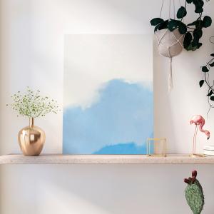 Quadro Aquarela em estilo abstrato azul Moldura Madeira de Reflorestamento - Fundo em Madeira 100% MDF 3mm  Impressão Digital Quadro de Moldura Com Vidro Com Ou Sem Moldura Vinil Texturizado