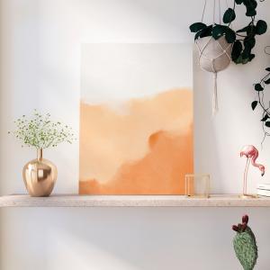 Quadro Aquarela em estilo abstrato laranja Moldura Madeira de Reflorestamento - Fundo em Madeira 100% MDF 3mm  Impressão Digital Quadro de Moldura Com Vidro Com Ou Sem Moldura Vinil Texturizado