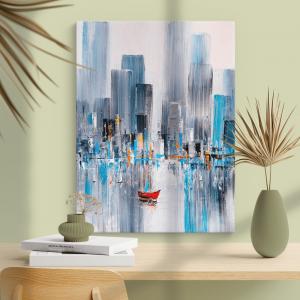Quadro Baía de Manhattan, Nova York Moldura Madeira de Reflorestamento - Fundo em Madeira 100% MDF 3mm  Impressão Digital Quadro de Moldura Com Vidro Com Ou Sem Moldura Vinil Texturizado