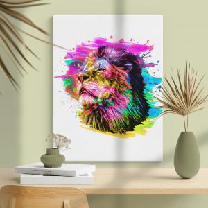 Quadro cabeça de leão isolada na cor de fundo Moldura Madeira de Reflorestamento - Fundo em Madeira 100% MDF 3mm  Impressão Digital Quadro de Moldura Com Vidro Com Ou Sem Moldura Vinil Texturizado