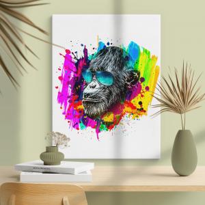 Quadro cabeça de macaco isolada na cor de fundo Moldura Madeira de Reflorestamento - Fundo em Madeira 100% MDF 3mm  Impressão Digital Quadro de Moldura Com Vidro Com Ou Sem Moldura Vinil Texturizado