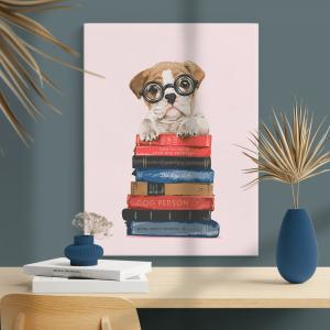 Quadro cachorrinho fofo de óculos com a pilha de livros Moldura Madeira de Reflorestamento - Fundo em Madeira 100% MDF 3mm  Impressão Digital Quadro de Moldura Com Vidro Com Ou Sem Moldura Vinil Texturizado