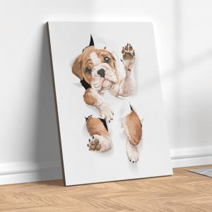 Quadro cachorrinho fofo pelo buraco do papel Moldura Madeira de Reflorestamento - Fundo em Madeira 100% MDF 3mm  Impressão Digital Quadro de Moldura Com Vidro Com Ou Sem Moldura Vinil Texturizado