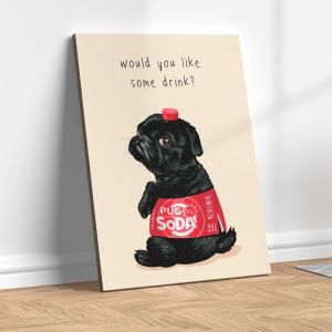 Quadro cachorro pug preto com rótulo de refrigerante Moldura Madeira de Reflorestamento - Fundo em Madeira 100% MDF 3mm  Impressão Digital Quadro de Moldura Com Vidro Com Ou Sem Moldura Vinil Texturizado