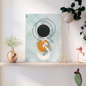 Quadro capas de aquarela desenhadas à mão azul mod. 3 Moldura Madeira de Reflorestamento - Fundo em Madeira 100% MDF 3mm  Impressão Digital Quadro de Moldura Com Vidro Com Ou Sem Moldura Vinil Texturizado