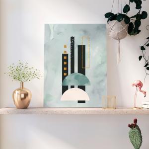 Quadro capas de aquarela desenhadas à mão azul mod. 4 Moldura Madeira de Reflorestamento - Fundo em Madeira 100% MDF 3mm  Impressão Digital Quadro de Moldura Com Vidro Com Ou Sem Moldura Vinil Texturizado