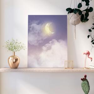 Quadro céu com lua crescente Moldura Madeira de Reflorestamento - Fundo em Madeira 100% MDF 3mm  Impressão Digital Quadro de Moldura Com Vidro Com Ou Sem Moldura Vinil Texturizado