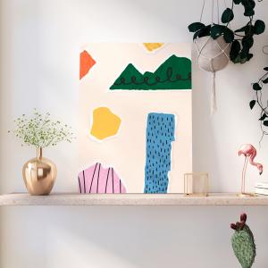 Quadro Colagem papel colorido rasgado Moldura Madeira de Reflorestamento - Fundo em Madeira 100% MDF 3mm  Impressão Digital Quadro de Moldura Com Vidro Com Ou Sem Moldura Vinil Texturizado