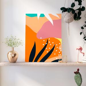 Quadro colorido do projeto Memphis Moldura Madeira de Reflorestamento - Fundo em Madeira 100% MDF 3mm  Impressão Digital Quadro de Moldura Com Vidro Com Ou Sem Moldura Vinil Texturizado
