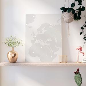 Quadro conexão mundial Moldura Madeira de Reflorestamento - Fundo em Madeira 100% MDF 3mm  Impressão Digital Quadro de Moldura Com Vidro Com Ou Sem Moldura Vinil Texturizado