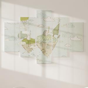 Quadro Decorativo Mosaico LUXO - A ilha Excelente qualidade  em vinil autocolante telado LUXO 1,25mt X 0,65cm Impressão Digital MDF - VINIL TELADO LUXO CONTÉM 5 PEÇAS TODAS EM MDF 6mm e impressão digital